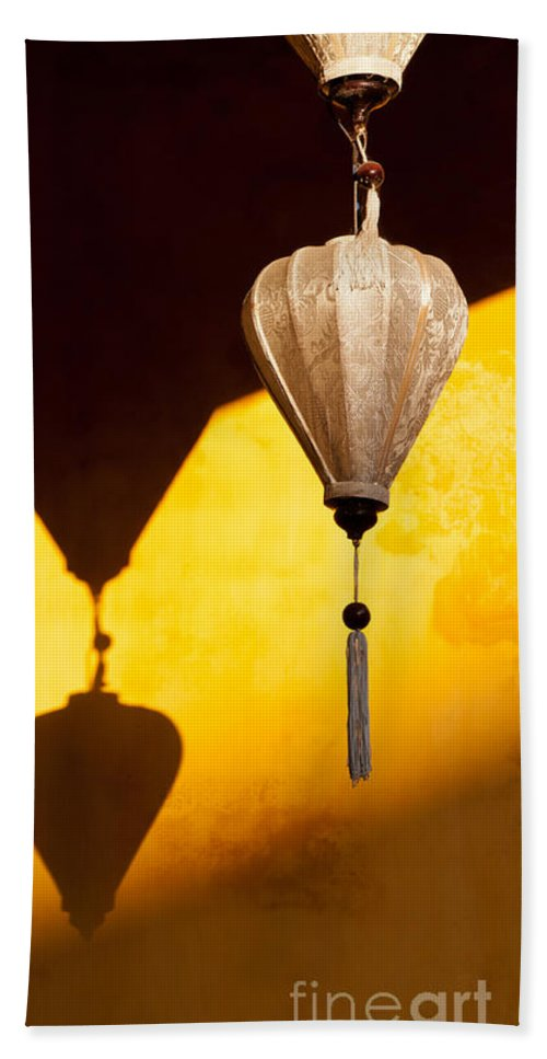 Vietnam Bath Sheet featuring the photograph Ochre Wall Silk Lanterns by Rick Piper Photography