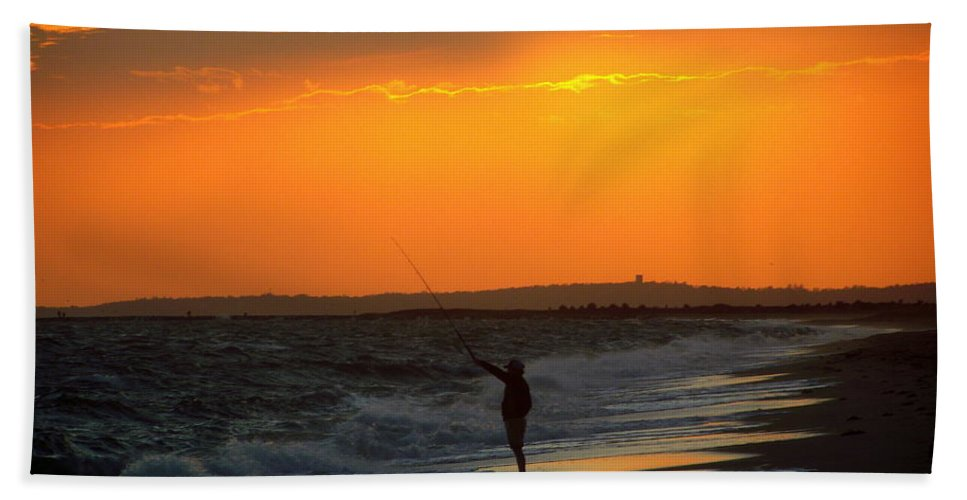 October Bath Sheet featuring the photograph October Fishing by CapeScapes Fine Art Photography