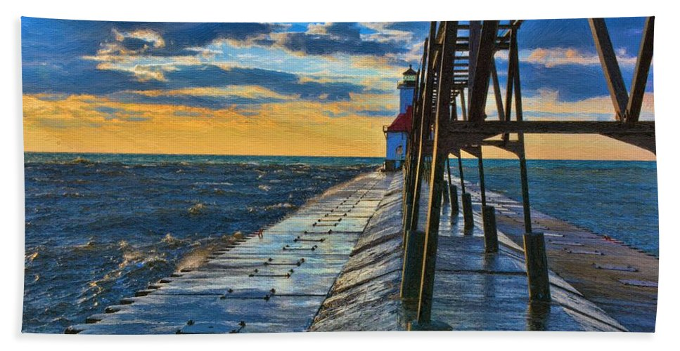 Lighthouse Bath Sheet featuring the painting October Sunset At St. Joseph Lighthouse - Simulated Oil by S Michael Basly