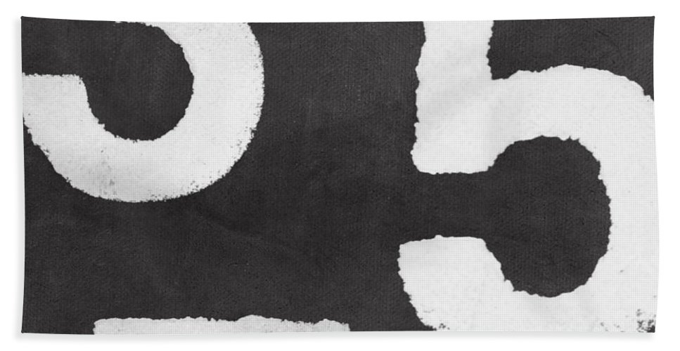 Odd Numbers Bath Towel featuring the painting Odd Numbers by Linda Woods