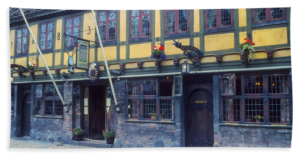 Restaurant Restaurants Eatery Eateries Structure Structures Building Buildings Architecture Odense Denmark Hand Towel featuring the photograph Odense Restaurant by Bob Phillips