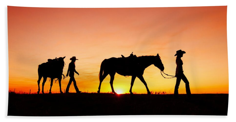 Cowgirls Hand Towel featuring the photograph Off To The Barn by Todd Klassy