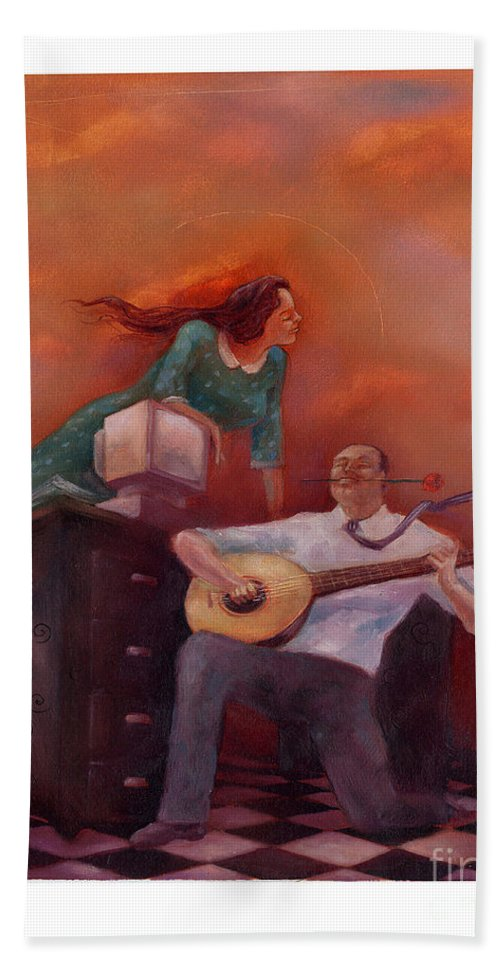 Lute Hand Towel featuring the painting Office Romance by Chris Van Es