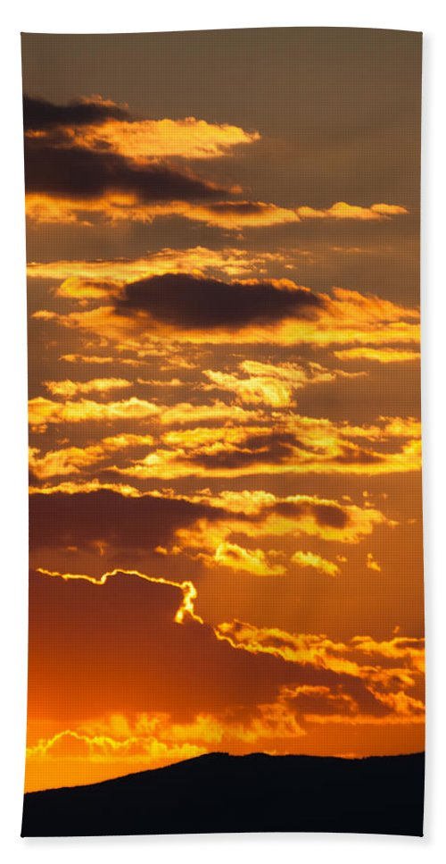Clouds Bath Sheet featuring the photograph Ograzhden Mountain Sunset by Kamen Ruskov