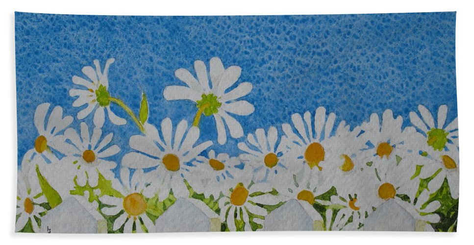 Flowers Hand Towel featuring the painting Oh Happy Day by Mary Ellen Mueller Legault