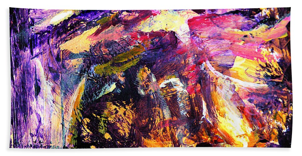 Abstract Hand Towel featuring the painting Oh Holy Night by Julianne Felton