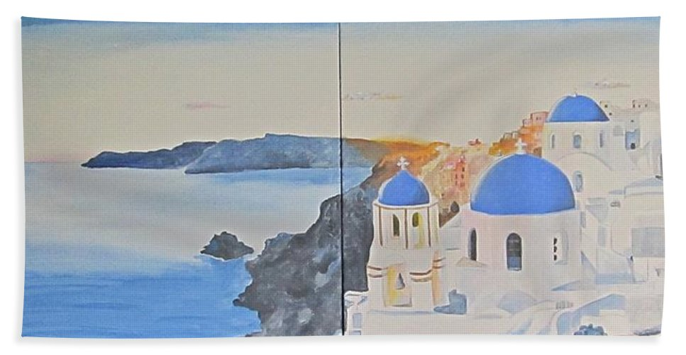 Santorini Bath Sheet featuring the painting Oh Island In The Sun... by Ingrid Stiehler