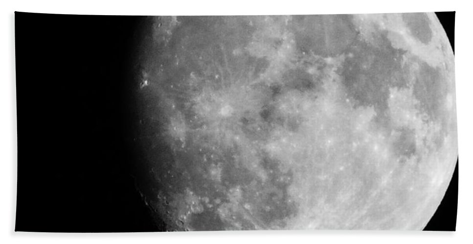 Black And White Bath Sheet featuring the photograph Oh La Moon by Michele Nelson