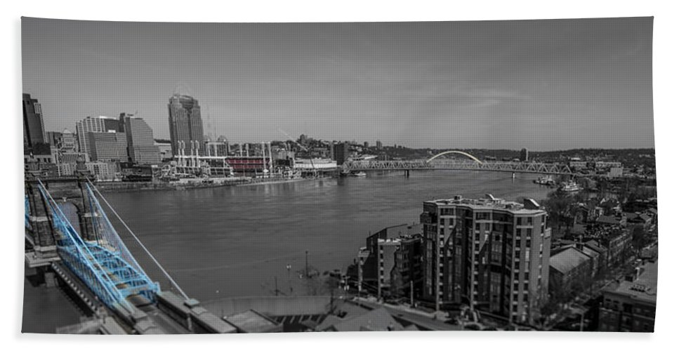 Cincinnati Hand Towel featuring the photograph Ohio River Flooding by Pat Burns