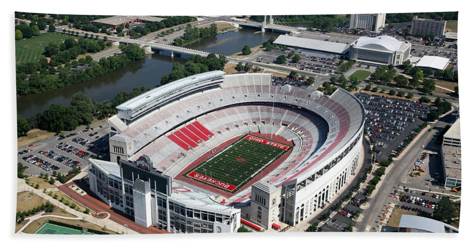 Columbus Hand Towel featuring the photograph Ohio Stadium Aerial by Bill Cobb