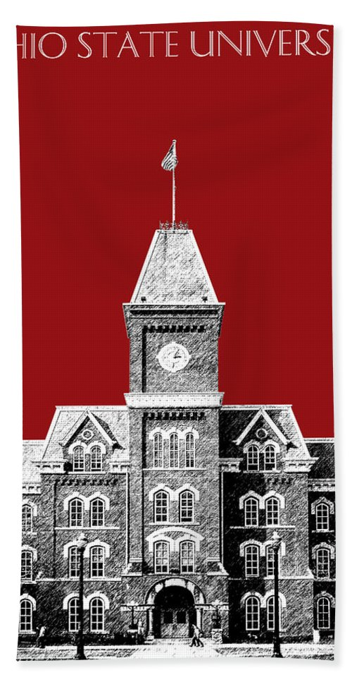 University Hand Towel featuring the digital art Ohio State University - Dark Red by DB Artist