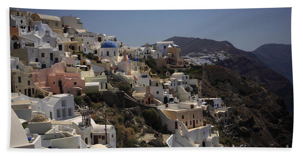 Aegean Hand Towel featuring the photograph Oia By Day by Deborah Benbrook