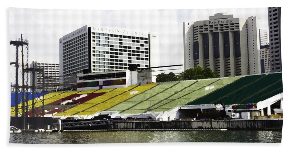 Action Bath Sheet featuring the digital art Oil Painting - Floating Platform In The Marina Bay Area In Singapore by Ashish Agarwal