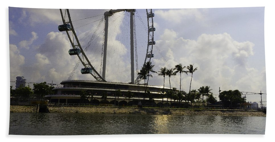 Asia Bath Sheet featuring the digital art Oil Painting - Partial Structure Of The Singapore Flyer by Ashish Agarwal