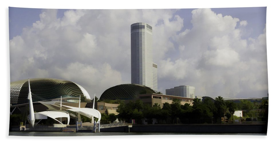 Action Bath Sheet featuring the digital art Oil Painting - The Swissotel Is A Tall Hotel In Singapore Next To The Esplanade by Ashish Agarwal