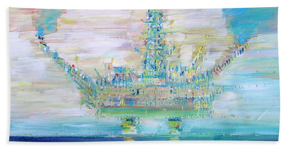 Oil Hand Towel featuring the painting Oil Platform by Fabrizio Cassetta