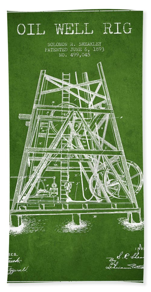 Oil Hand Towel featuring the digital art Oil Well Rig Patent From 1893 - Green by Aged Pixel