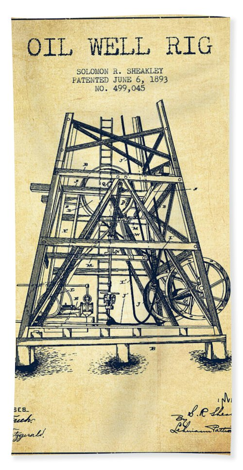 Oil Hand Towel featuring the digital art Oil Well Rig Patent From 1893 - Vintage by Aged Pixel