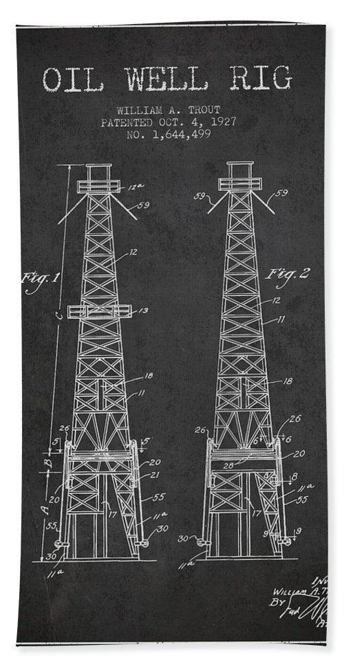 Oil Hand Towel featuring the digital art Oil Well Rig Patent From 1927 - Dark by Aged Pixel