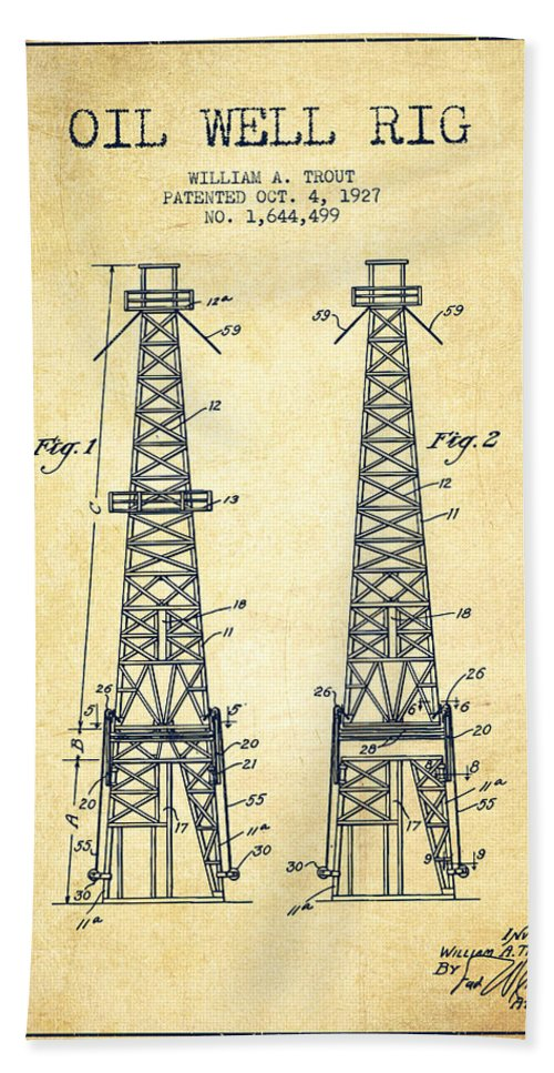 Oil Hand Towel featuring the digital art Oil Well Rig Patent From 1927 - Vintage by Aged Pixel