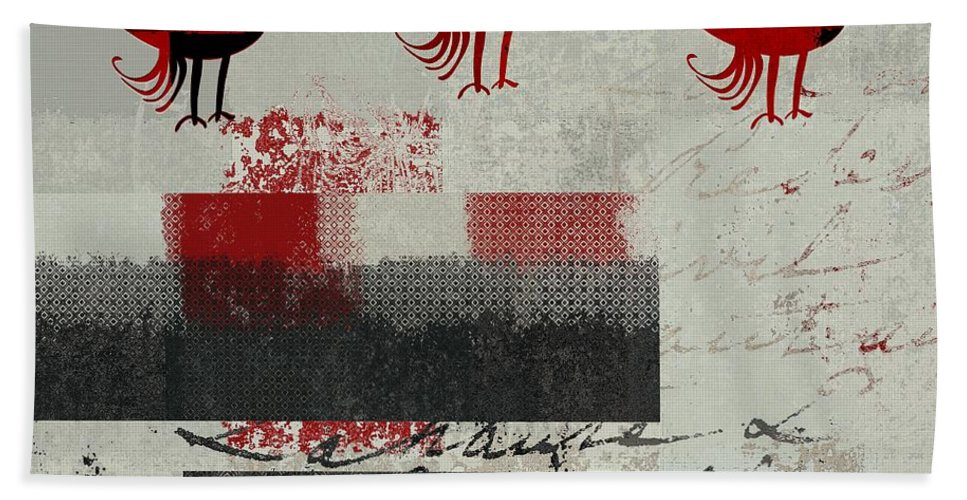 Gray Hand Towel featuring the digital art Oiselot - J106164161-2t1b by Variance Collections