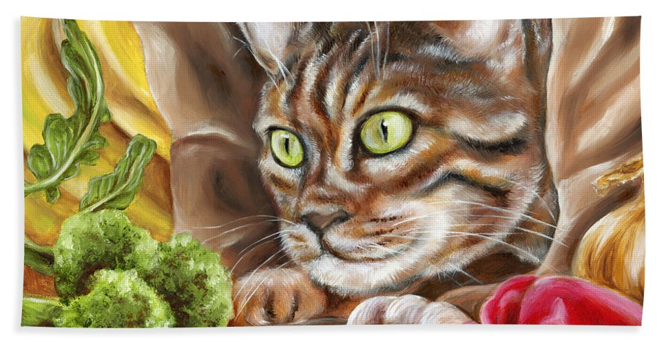 Cat Hand Towel featuring the painting Ok Now What by Hiroko Sakai