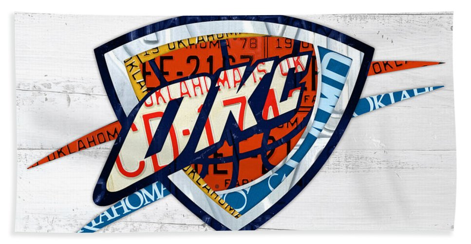 Okc Hand Towel featuring the mixed media Okc Thunder Basketball Team Retro Logo Vintage Recycled Oklahoma License Plate Art by Design Turnpike
