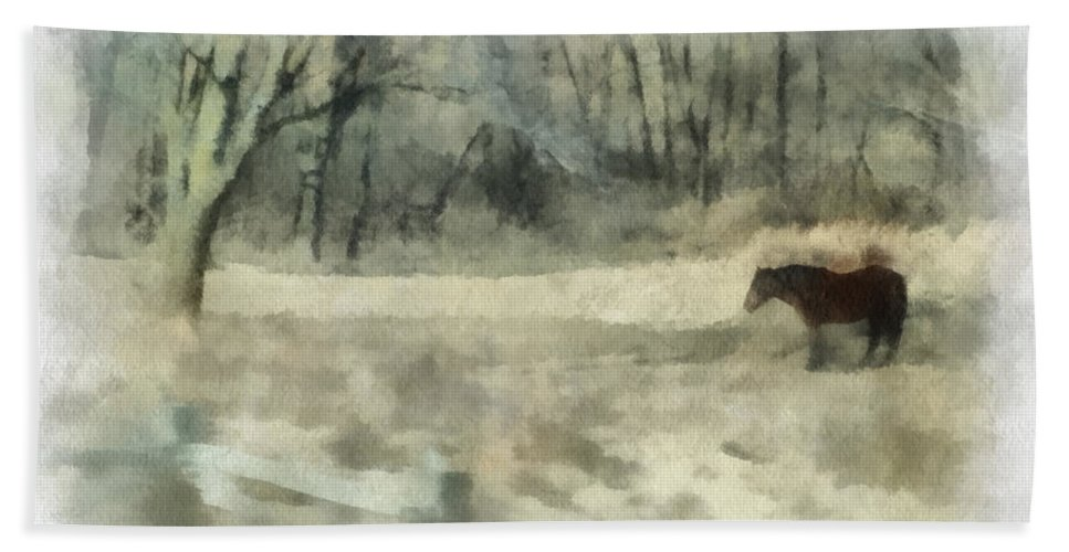 Horse Bath Towel featuring the photograph Oklahoma Field Horse During Winter Photo Art 01 by Thomas Woolworth