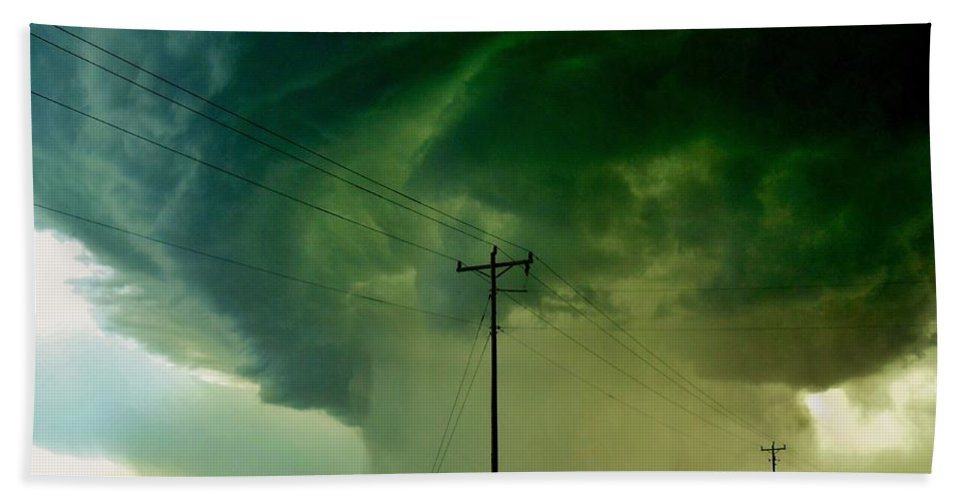 Oklahoma Hand Towel featuring the photograph Oklahoma Mesocyclone by Ed Sweeney