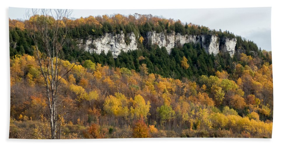 Landscape Bath Sheet featuring the photograph Old Baldy In Fall by Richard Kitchen