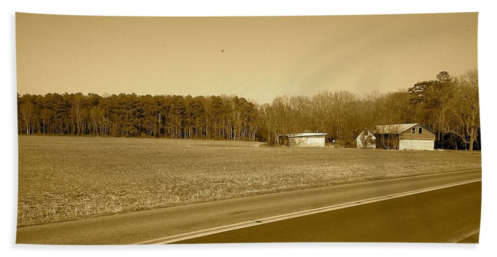 Barn Bath Sheet featuring the photograph Old Barn And Farm Field In Sepia by Chris W Photography AKA Christian Wilson