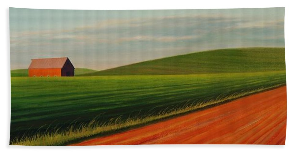 Landscape Bath Towel featuring the painting Old Barn at Sunset by Leonard Heid