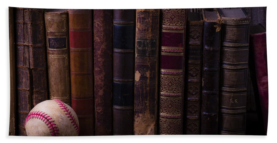 Book Hand Towel featuring the photograph Old Baseball And Books by Garry Gay