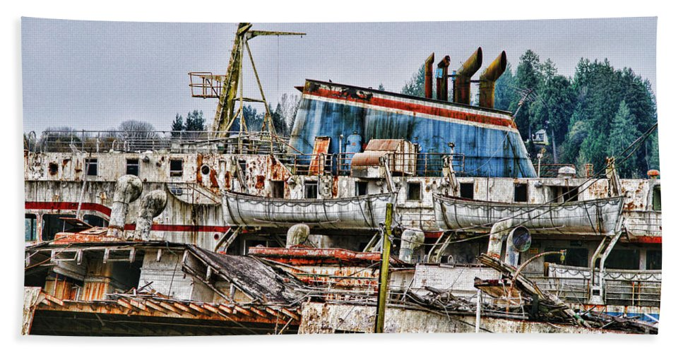 Boats Hand Towel featuring the photograph Old B.c. Ferry by Randy Harris