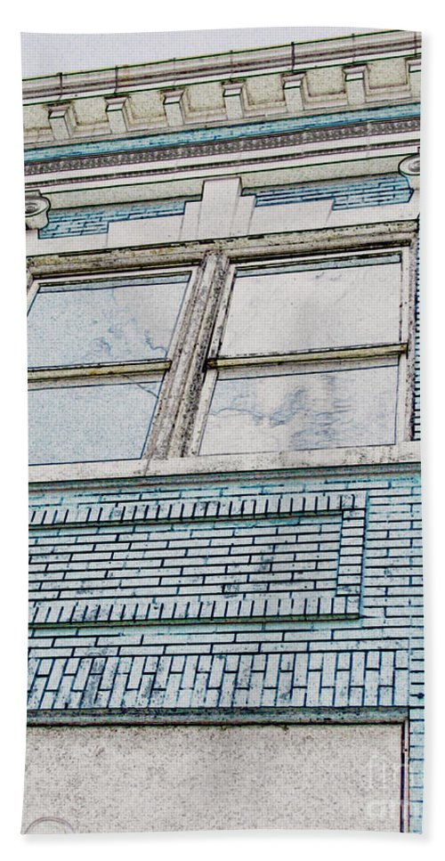 Arcitecture Bath Sheet featuring the photograph Old Blue Building I by Debbie Portwood