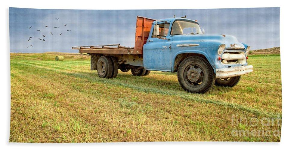 Blue Bath Sheet featuring the photograph Old Blue Farm Truck by Edward Fielding