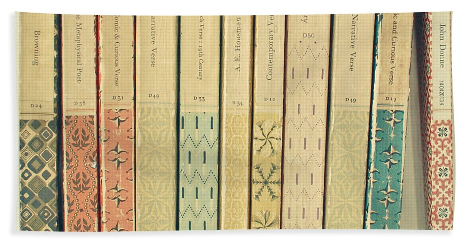 Book Hand Towel featuring the photograph Old Books by Cassia Beck