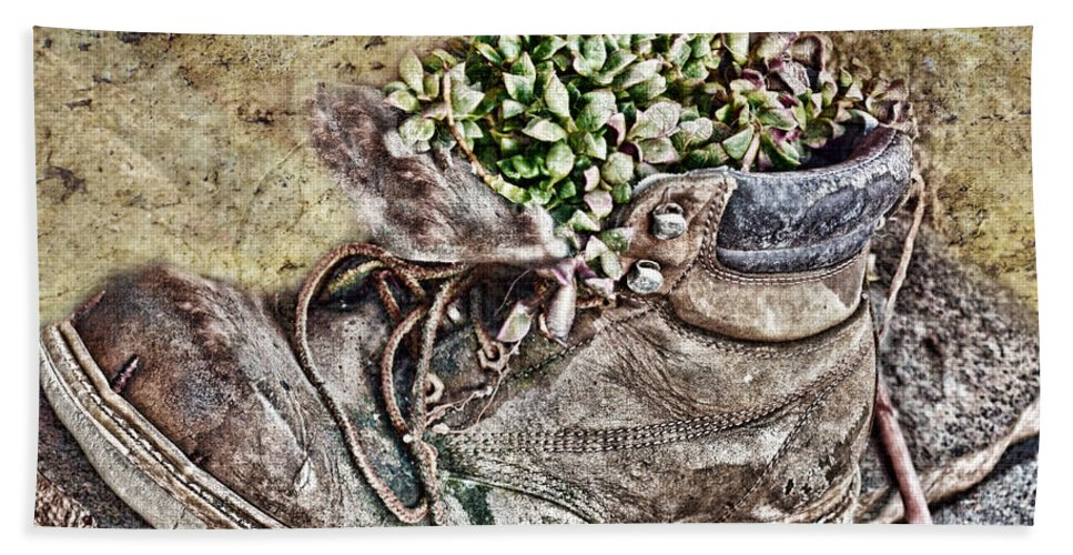 Nature Hand Towel featuring the photograph Old Boot Flowerpot by Debbie Portwood