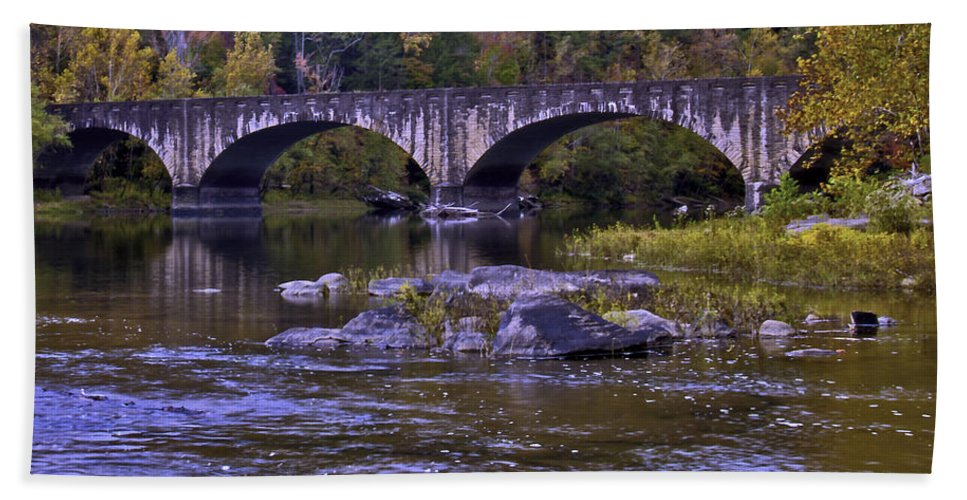 Rural Bath Sheet featuring the photograph Old Bridge Two by Ken Frischkorn