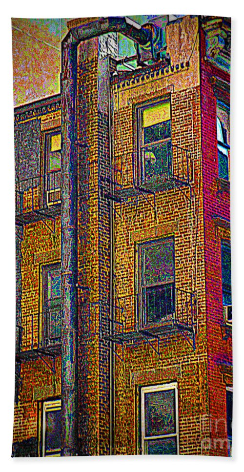 Interior Decorating Hand Towel featuring the photograph Old Building With Pipe by Miriam Danar