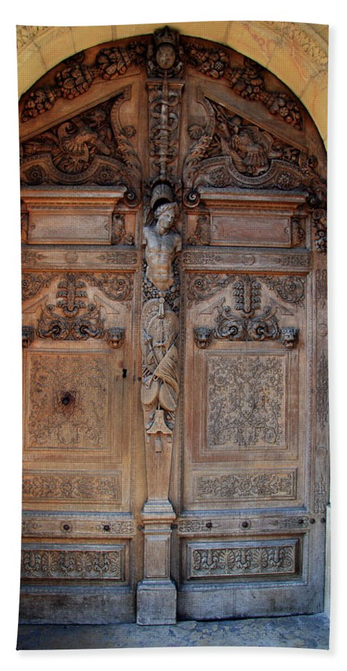 Door Bath Sheet featuring the photograph Old Carved Church Door by Christiane Schulze Art And Photography