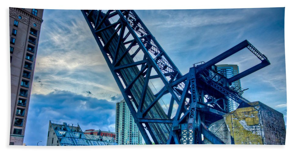 Chicago Hand Towel featuring the photograph Old Chicago Draw Bridge by Anthony Doudt