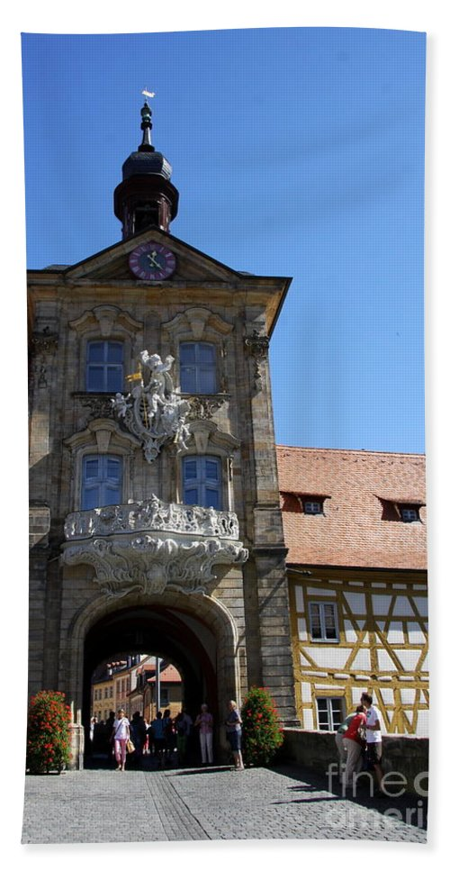 Baroque Gate Hand Towel featuring the photograph Old City Hall - Bamberg by Christiane Schulze Art And Photography