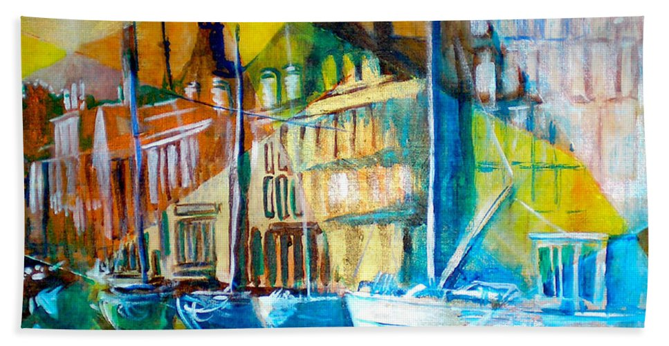 Old World Street Bath Towel featuring the painting Old Copenhagen thru Stained Glass by Seth Weaver