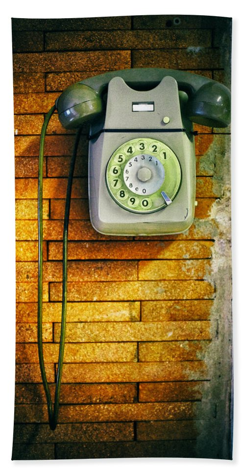 Close Up Hand Towel featuring the photograph Old Dial Phone by Fabrizio Troiani