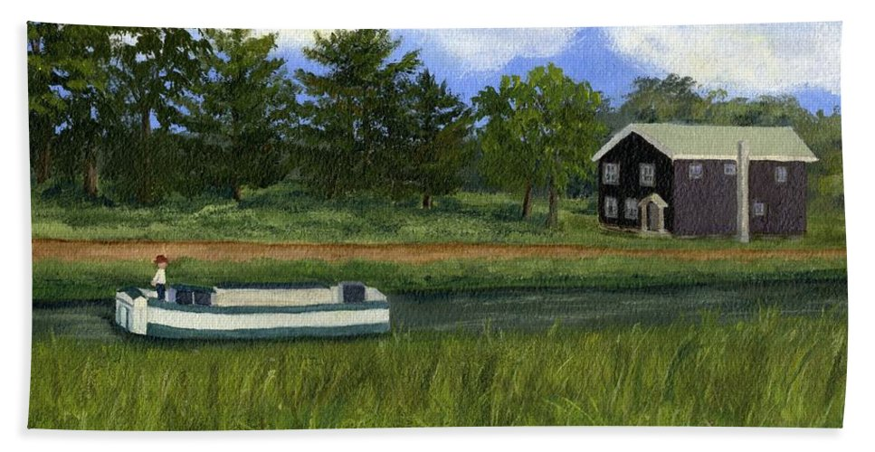 Erie Canal Bath Sheet featuring the painting Old Erie by Lynne Reichhart