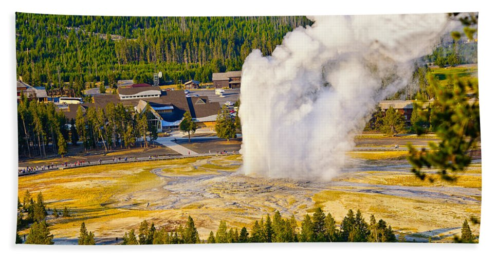 Old Faithful Bath Sheet featuring the photograph Old Faithful From Observation Point by Greg Norrell