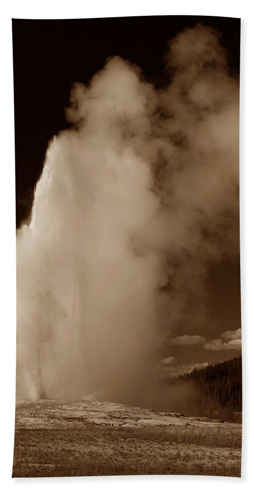 Yellowstone Bath Sheet featuring the photograph Old Faithful by Michael Kirk