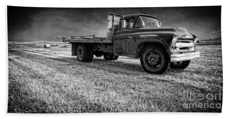 Truck Hand Towel featuring the photograph Old Farm Truck Black And White by Edward Fielding