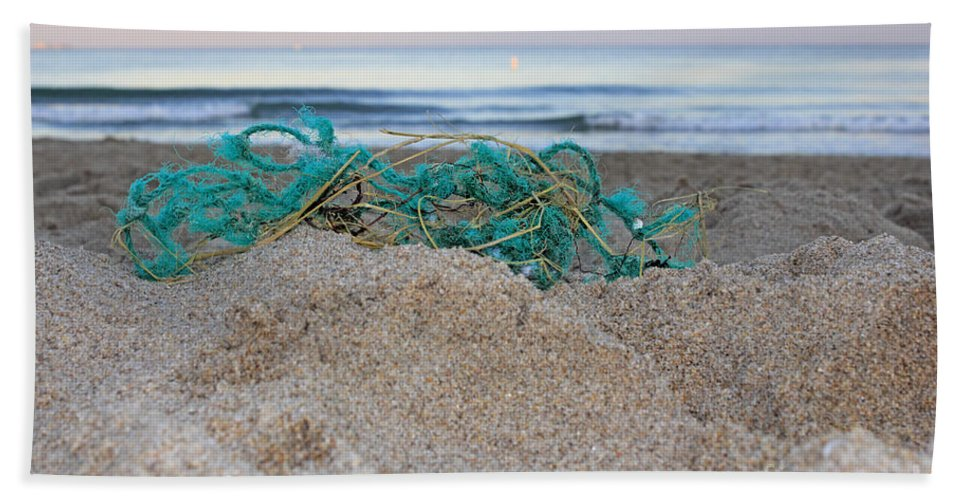 Old Bath Sheet featuring the photograph Old Fishing Net On Beach by Lee Serenethos